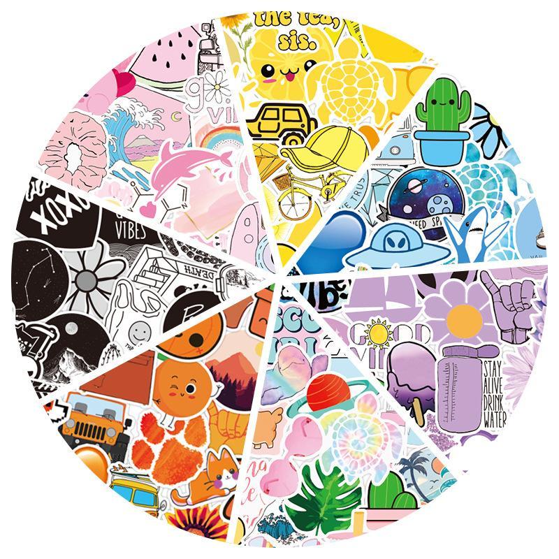 50 nuevos niños VSCO frescas de colores pegatinas de graffiti explosión equipaje portátiles de skate niños pegatinas juguetes