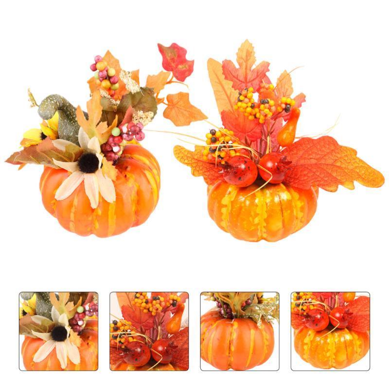 2pcs bonito Lifelike criativas Fotografia Elegante suporte de Halloween girassol espuma abóbora enfeites de outono para o partido