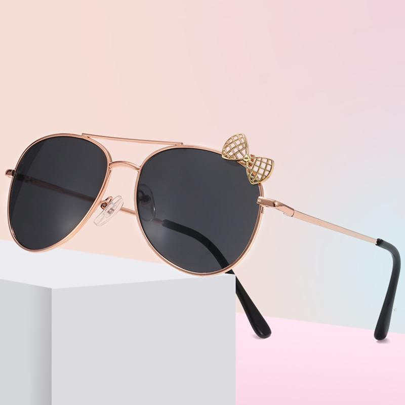 Sevimli Bow Kızlar Güneş Çift Işın Metal Çerçeve Çocuklar Gözlük Çocuklar Açık Gözlükler Dekoratif Parti Gözlük
