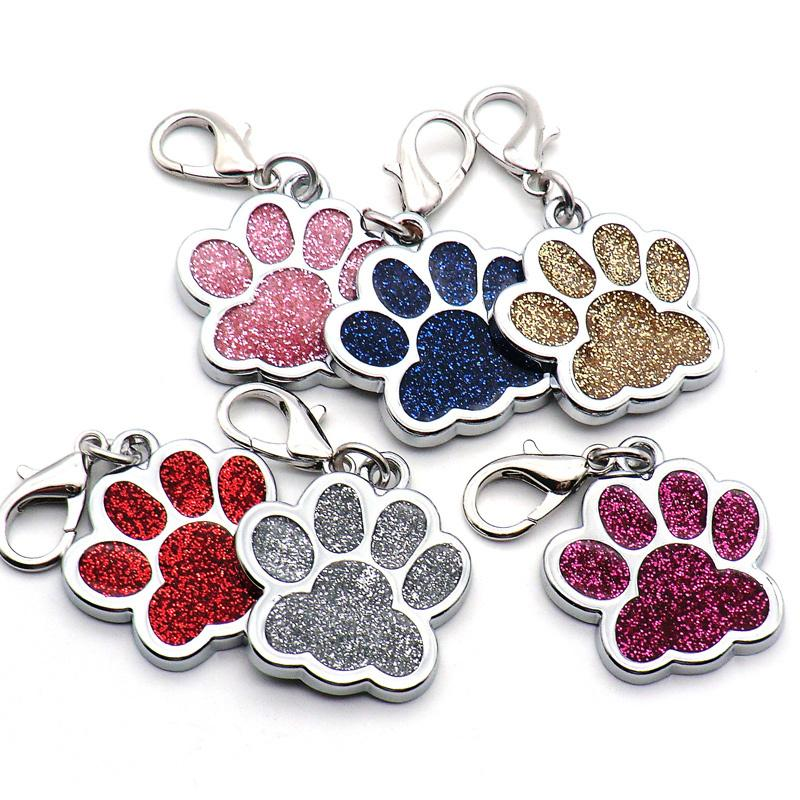 Toptan 20Pcs Kişiselleştirilmiş Köpek Etiketler Lot Oyma Köpek Pet Kimliği Etiket Adı Yaka Blank Kimliği Etiket kolye Pet Aksesuar Paw Etiketler Y200917