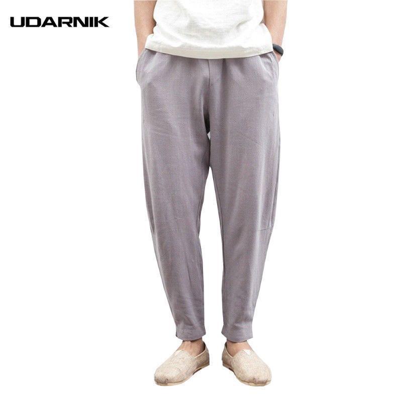 Homens de algodão de linho Harem Pants Suave Verão Elastic cintura solta Casual Pencil Calças Plus Size 5XL Estilo Chinês 200-A703
