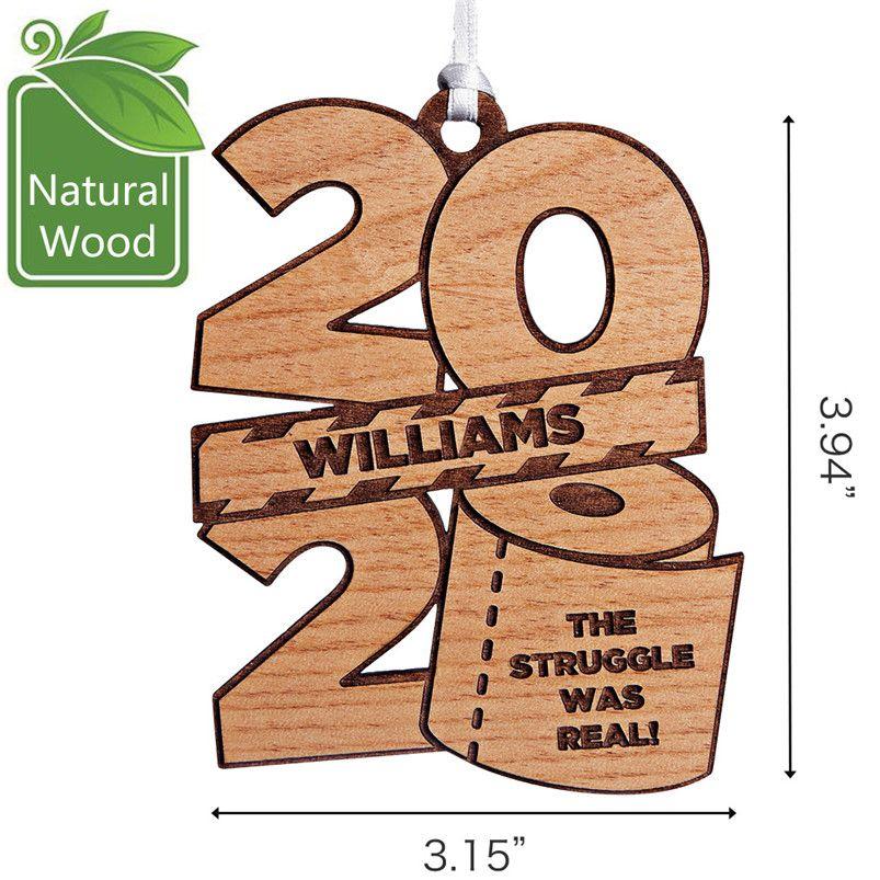 2020 Рождественские украшения Персонализированные туалетной бумаги с талреп дерева украшения Деревянные подарки Подвесной Новый год Home Decor Игрушки партии E92402