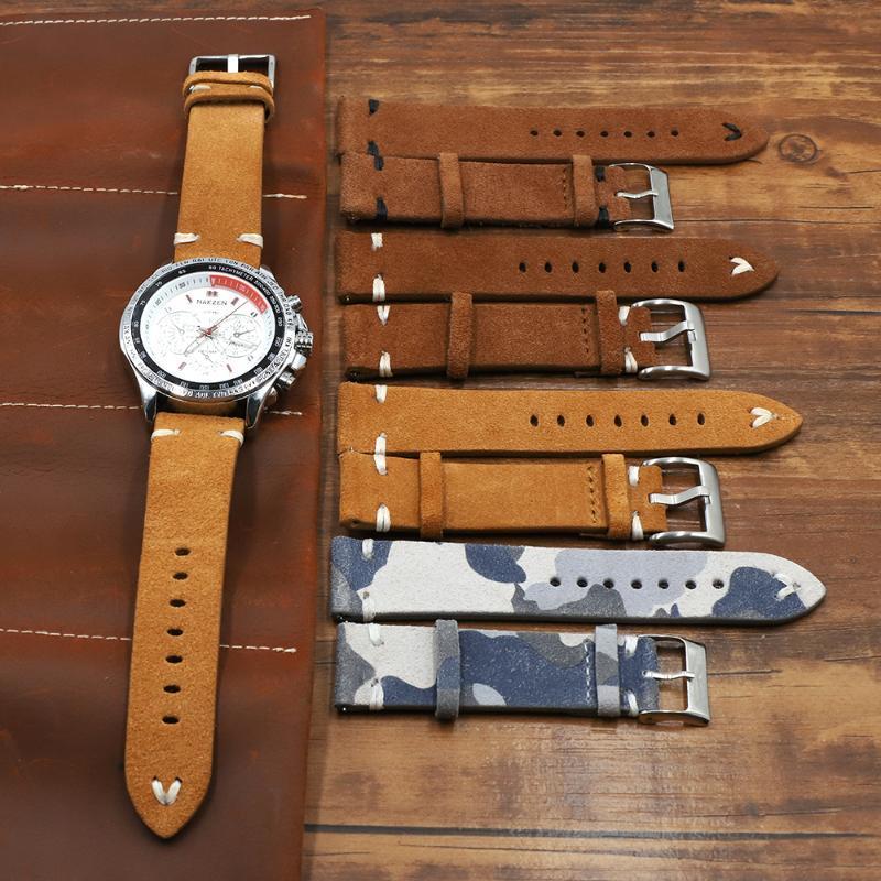 Echtes Wildleder-Watch-Armband 18 20 22 24mm braune Kaffee-Camouflage Watch-Bands Herrenband-Zubehör