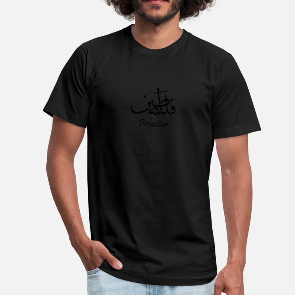 Filistin Kaligrafi Tişörtlü Erkekler Sunlight Pamuk Yuvarlak Yaka Trend Sunlight Comical Bahar Doğal