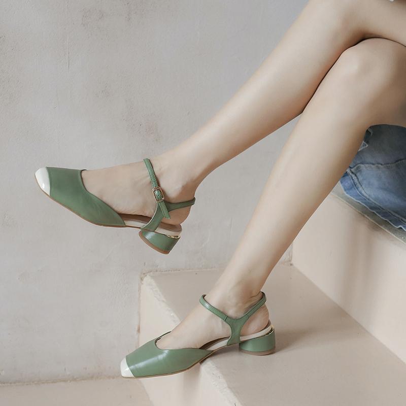 Sandales de femme avec boucle cheville sandales femmes Boucle d'été en cuir véritable bout carré Gladiator Sandalias De Verano Para Mujer