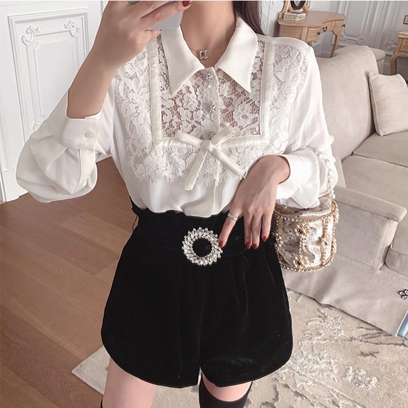 arco laço 2020 nova de duas peças terno design elegante moda Lace shirt Outono borboleta mulheres terno de N0pvR Mulheres 9263