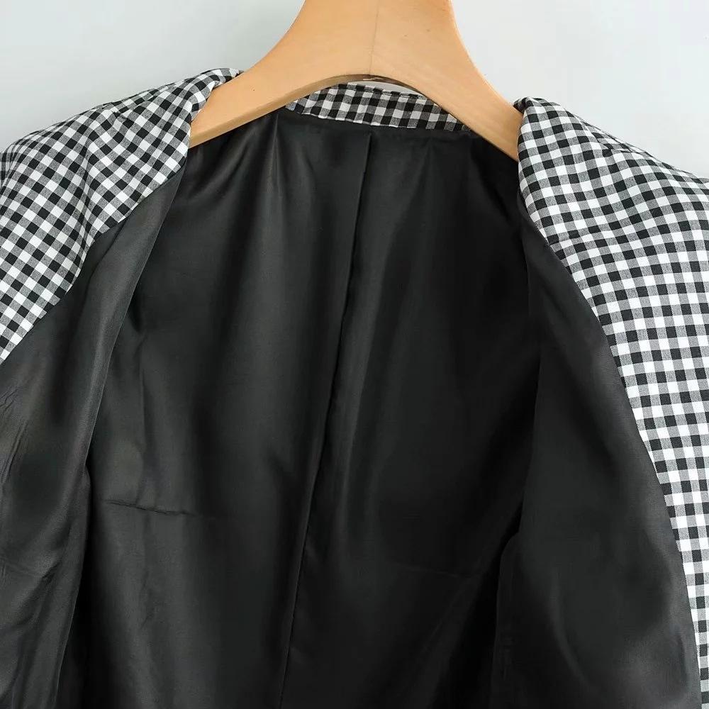 CNJ-9031 новый черный и белый плед костюм женский CNJ-9031 женщин новый черный пальто и белый плед костюм пальто