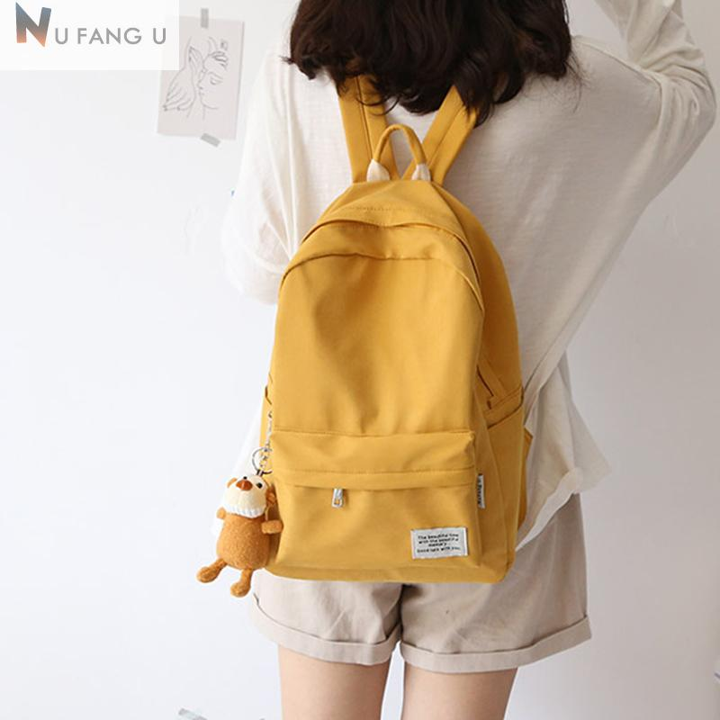 NUFANGU 2020 Classic Design Macarons cotton Fabric Women Backpack College School Student Book Bags Girls Leisure TravelX0923