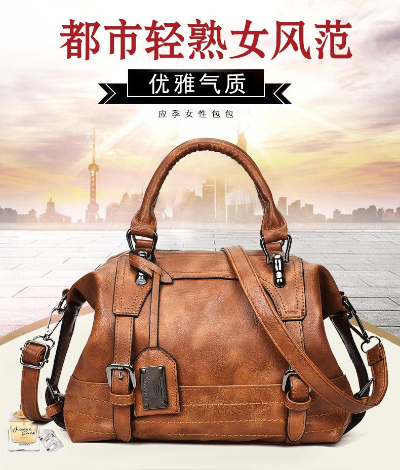 2020 Four Seasons New Boston Vintage Wax Leather Messenger Bag Shoulder Bag Female Handbag