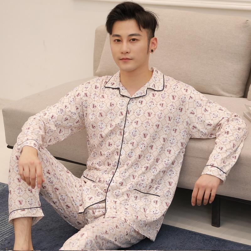Frühling und Pyjama Kleidung Kleidung Herbst der neuen Männer mit langen Ärmeln karierten Baumwollpyjamas plus Größe beiläufige gestrickte Baumwolle Anzug nach Hause