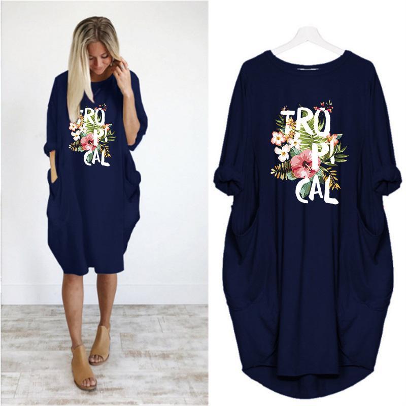 kadın uzun kollu tişört büyük boyutu gevşek gündelik elbise Boyut S-5XL baskı Elbise moda kadın yaz ve sonbahar yeni trend