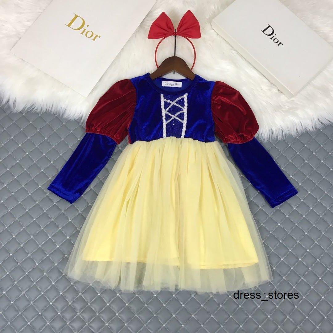 niños estilo pastoral de chicas vestidos de manga larga vestido de coincidencia de color único exquisita
