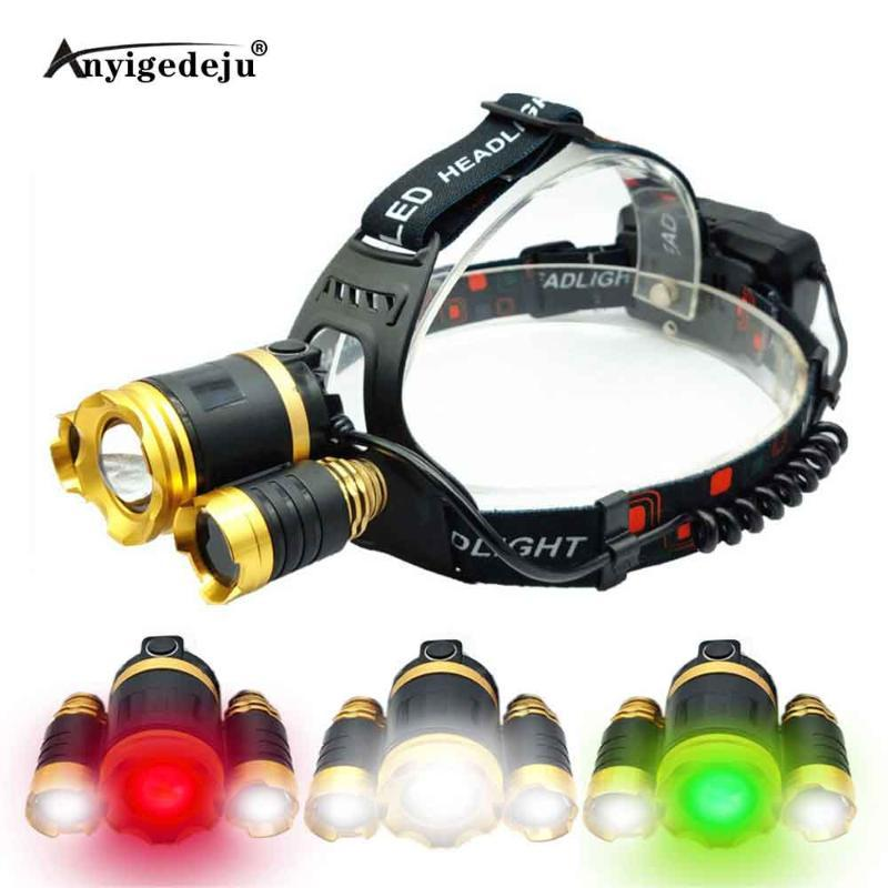 XML-T6 2*XPE LED Headlamp Zoomable Headlight 18650 Battery Head Torch Green Fishing White Light Camping Red Hunting