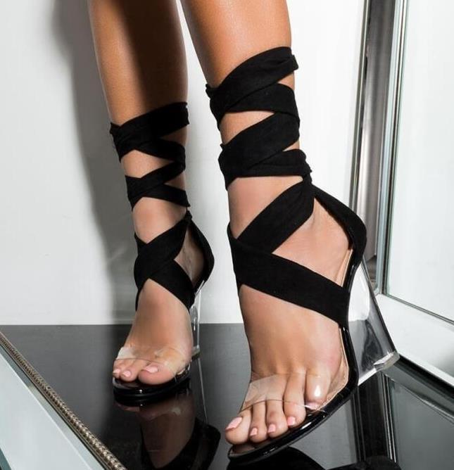 202Sexy dell'involucro della caviglia scarpe da donna di lusso del progettista talloni chiaro gladiatore di modo delle donne dei sandali donne cunei piattaforma dei talloni dei sandali taglia 35 a 41