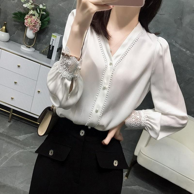 V-neck Long-sleeved Thin Solid Color Shirt Women Single-breasted Fashion Lace Button Cardigan Chiffon Blouses Female Spring Y200827
