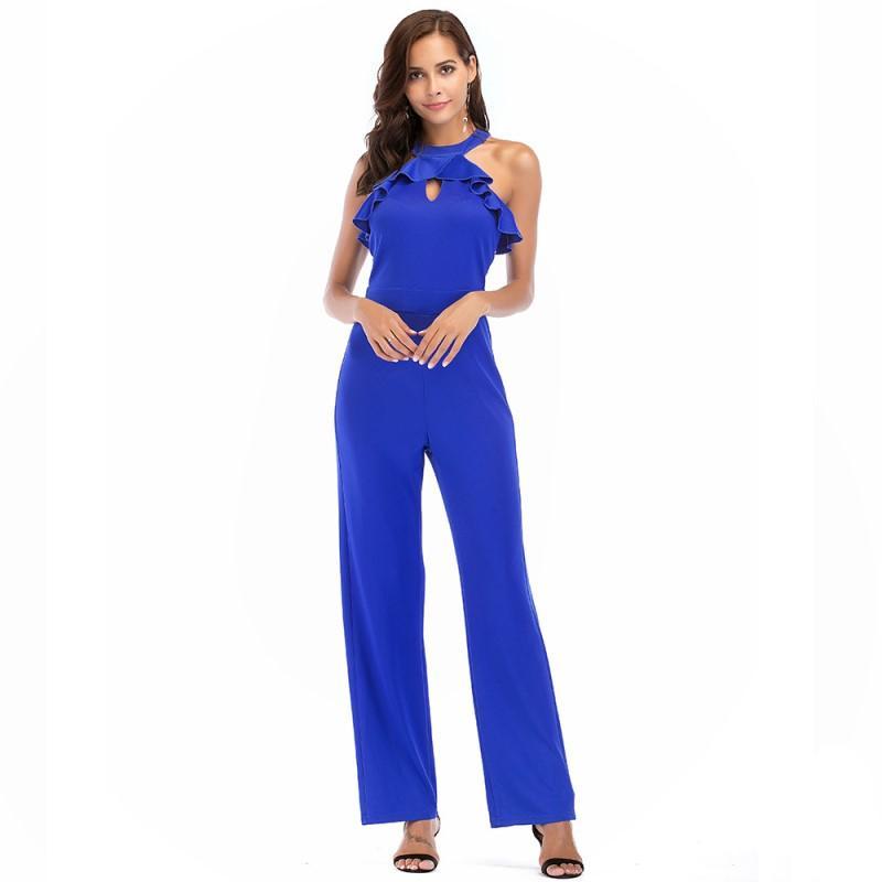 summer jumpsuits for women 2020 off shoulder high waist halter jumpsuit plus size rompers womens jumpsuit one piece pants A2267N