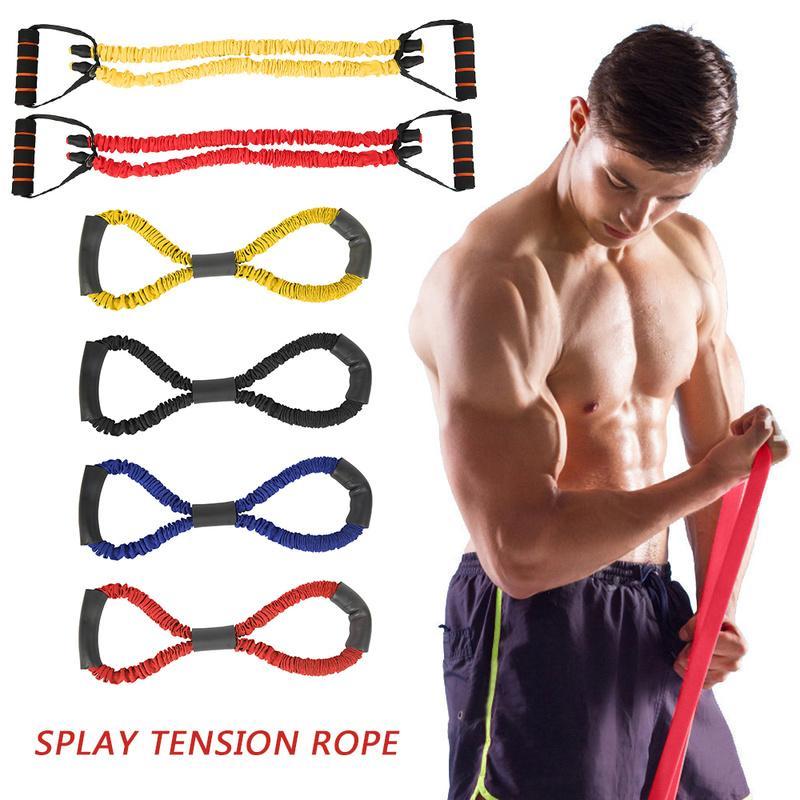 Bandes de résistance 8 Type de mot Yoga Teching Fitness Tuyau Tube Tube Tube en caoutchouc Muscle Formation Stretch Crossfit Equipment Bande élastique