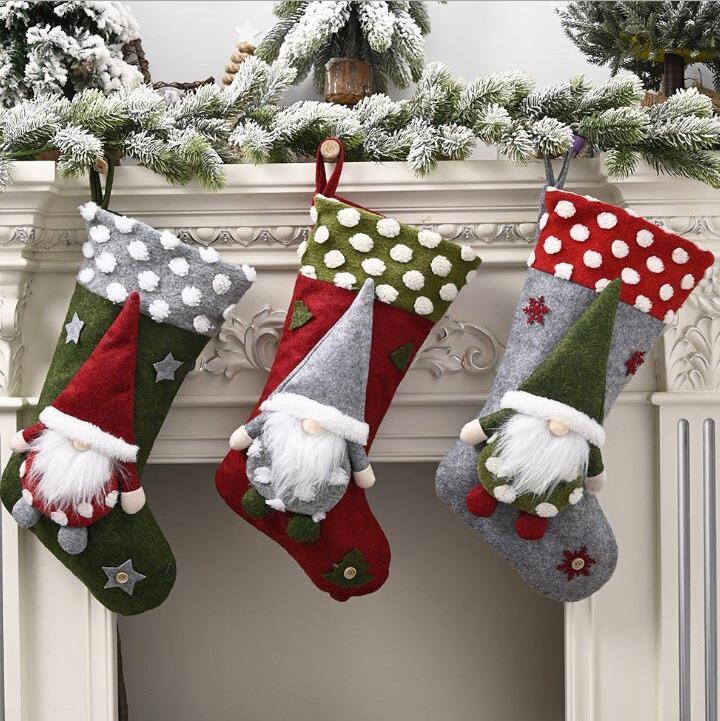 Bonbons Chaussettes Noël Chaussettes Sac cadeau enfants Père Noël Elf Pas-visage de poupée Chaussettes cadeau de Noël Pendentif Fournitures intérieur 19inch LSK1050