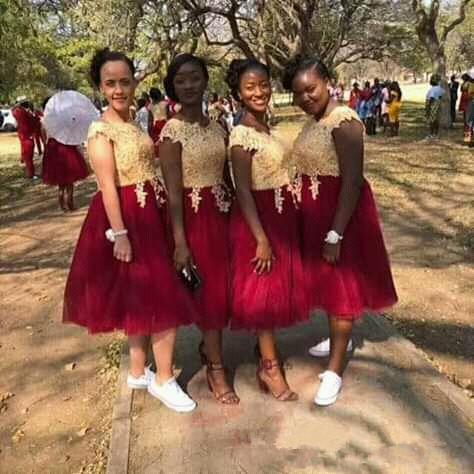Vestidos de dama de honor africano de la rodilla Longitud de la criada de los vestidos de honor de oro corpiño de encaje de oro Burgoña Falda de tul de boda Vestido de fiesta de invitado Z32