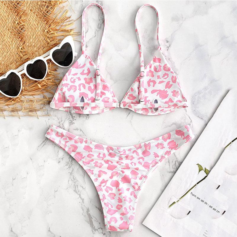 Verão Pink Leopard Rosa Floral magro Biquinis 2019 Sexy Mulheres Bikini brasileiro Set Push Up Swimsuit Thong Swimwear @ 45