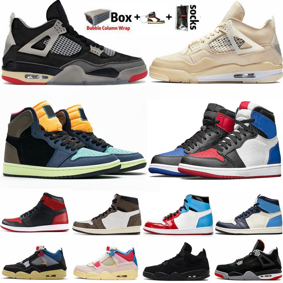 Erkek Basketbol Ayakkabı Kara Kedi 4 4s Birliği Yelken Guava Buz Kadınlar Sneakers Bred Ne 1 1s Travis Scotts Obsidian UNC Korkusuz Büküm