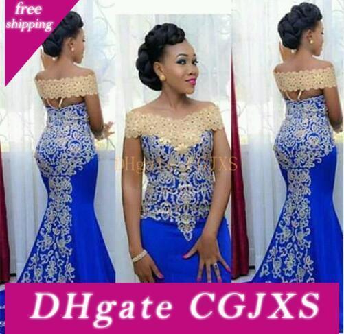 Elegante spalla lunghi abiti da sera sirena off con oro pizzo ricamo Piano Lunghezza donne africane elegante convenzionale blu Prom Evening Gown
