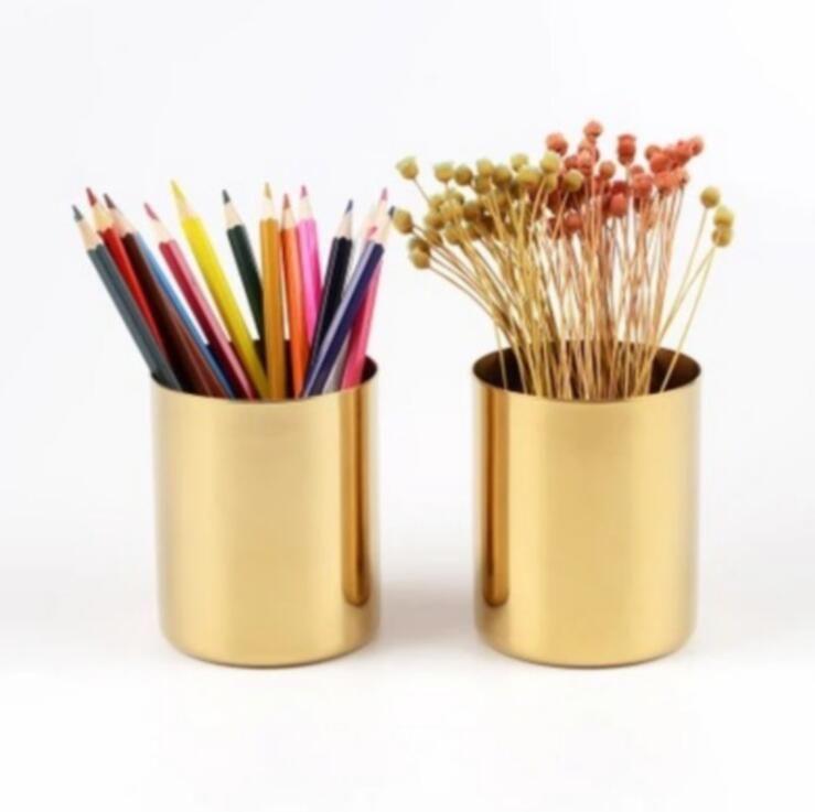 latón oro florero 400ml estilo nórdico Multi Uso Lápiz sostenedor de pote Copa contiene la pluma de acero inoxidable Cilindro Soporte para Escritorio organizadores LXL825