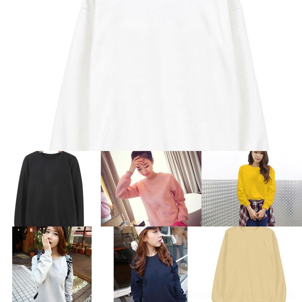 IUFrt FZs2Z Frühlings-Herbst-Winter neuer koreanische Artsüßigkeit Top dünne Farbe Pullover Student runde Kragen-Shirt Frauen Casual festen Pullover