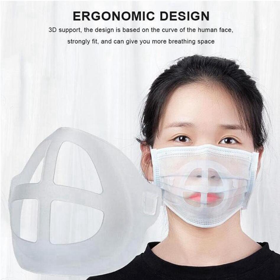 4 Estilos de silicone Máscara Bracket Batom Proteção Levante Máscara Suporte interno para melhorar a respiração suavemente Máscaras Ferramenta Acessório LJJP319