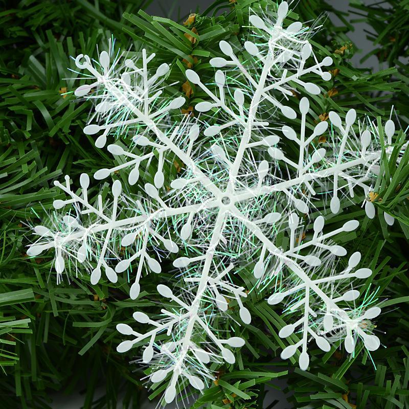 6cm blanco plástico copos de nieve Adornos para Navidad Navidad árbol de Navidad que cuelgan del partido del festival ventana Inicio de Año Nuevo Decoración ZA1471