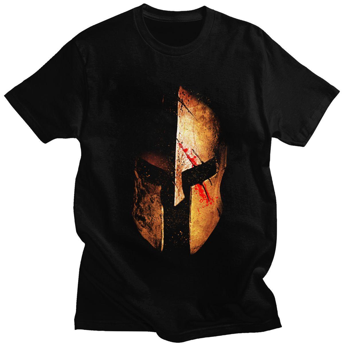 Cool Gold Metal Blood Spartan T Shirt Short Sleeve Cotton Sparta Trojan Helmet T-Shirt Streetwear Casual Tee Tops Clothing Merch