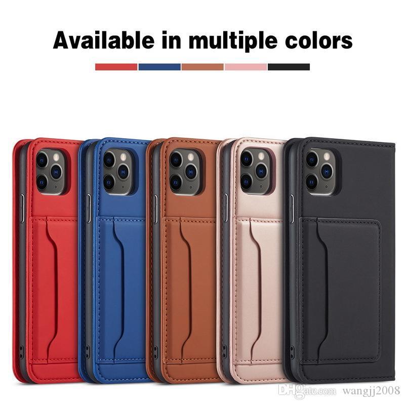 فليب غطاء مصنوع من الجلد حالة الهاتف لiPhone7 8 PLUS 11 PRO XS ماكس لسامسونج S20 HUAWEI حالة بطاقة P30