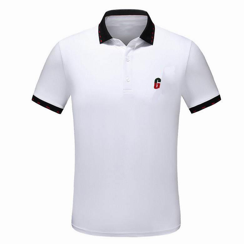 Lüks moda klasik erkek mektup nakış gömlek pamuklu erkek tasarımcı tişört siyah beyaz polo gömlek erkek boyut M-3XL