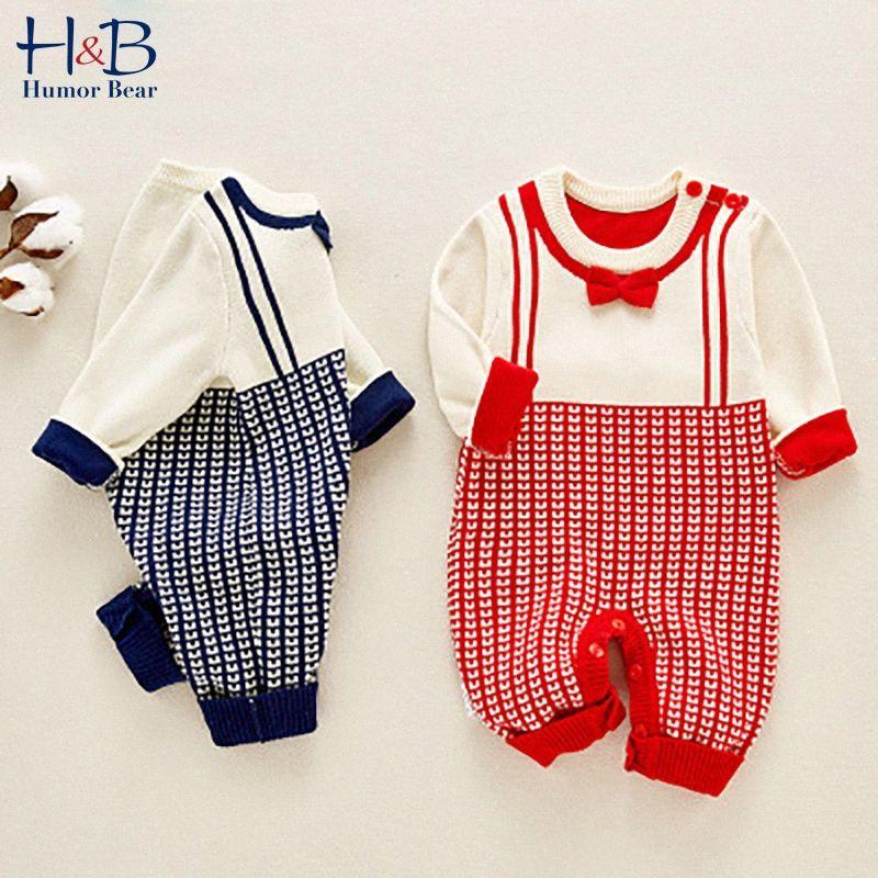Humor Bären-Baby-Kleidung Herbst-Winter-lange Hülse koreanischen Art-Mädchens Robe Kleidung-Baby-Wolle Body Strick Drucken Overall JZ0r #