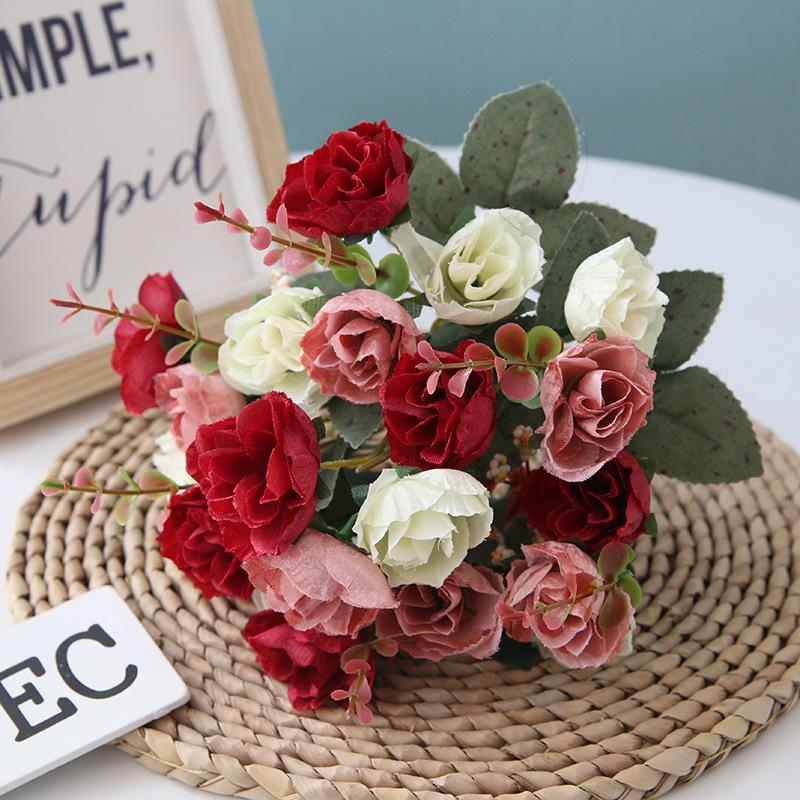 1 Букет Искусственные розы Цветы 7 Forks 21 голов Шелковый Поддельный Цветочный букет для DIY Home Garden Свадебные украшения 30см