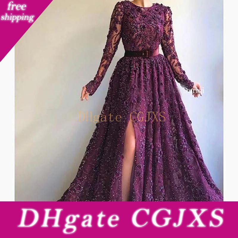 Grape Elegant Side Split Prom Dresses With Sash O -Neck Beads Sequins Appliques Lace Evening Dress Long Dubai Robe De Soiree Party Gowns