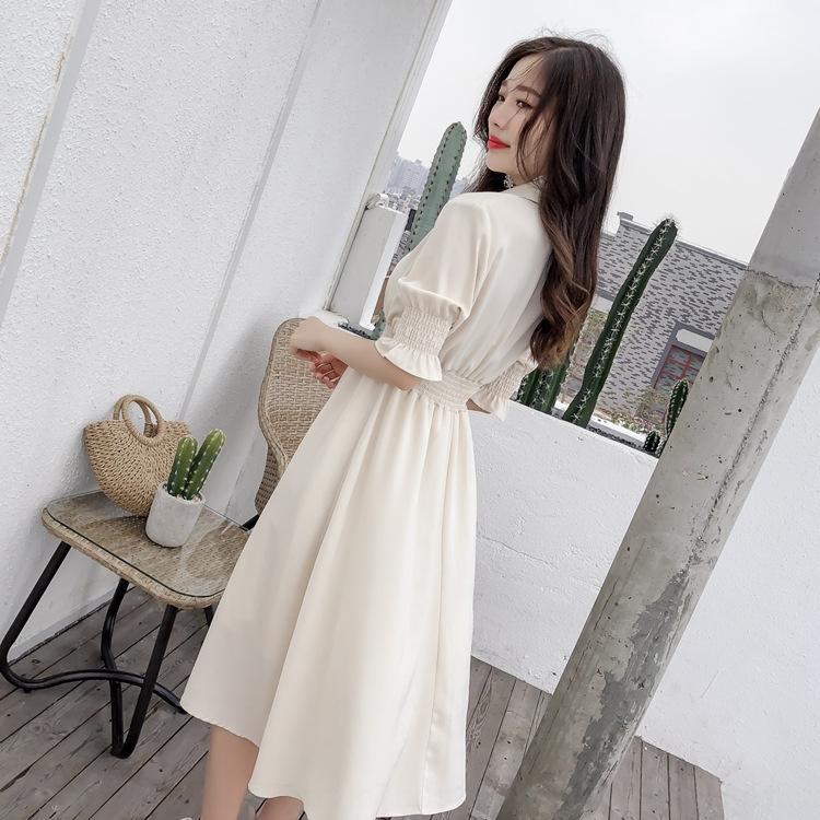 dvXy3 платье сплошной цвет дамы 2020 новый высокой талии шифон V-образным вырезом женщин средней длины модное платье летней женщины