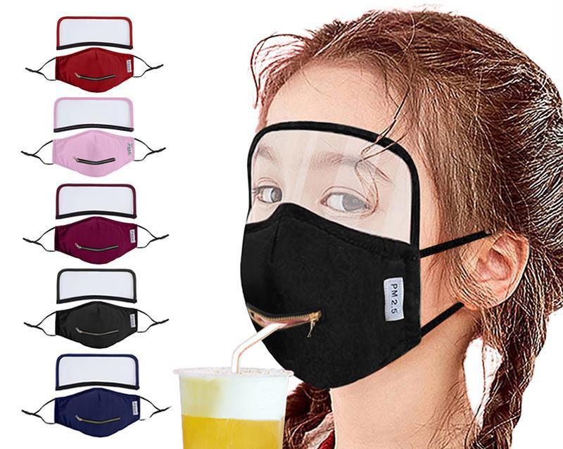 2 en 1 cremallera Máscara potable desmontable con protector de ojos adultos Máscaras protector del ojo Niños facial protectora partido de la máscara a prueba de viento del polvo anti FY9174