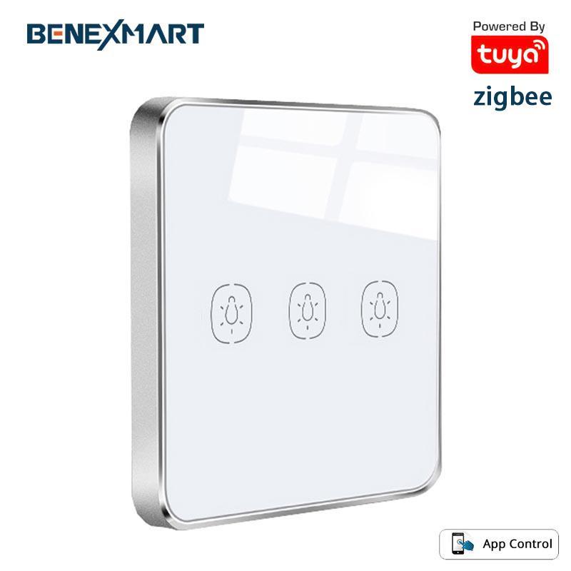 Tuya Zigbee Anahtarı dokunmatik kumanda 1 2 3 Çeteler Kontrolü Tuya Akıllı Cihazlar Işık Anahtarı Kablosuz Pil Zigbee