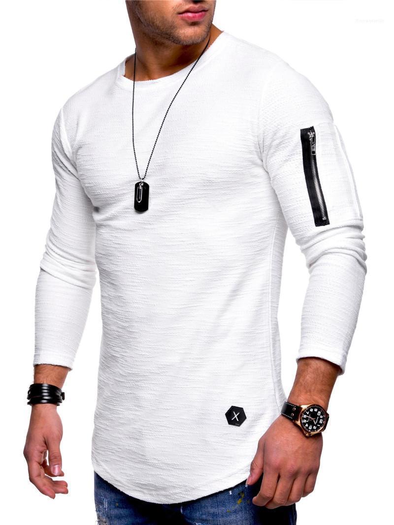 İnce Erkek tişörtleri Fermuar Uzun Kollu Mürettebat Boyun Katı Renk Man Günlük Spor Spor Homme Tees Tops