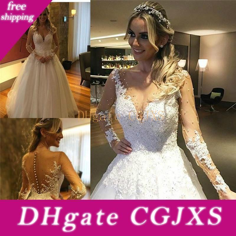 Weiße lange Hülsen-Spitze-Hochzeits-Kleid-elegante wulstige Brautkleider Sexy Backless Brautkleider Brautkleider Robes De Mari Ee