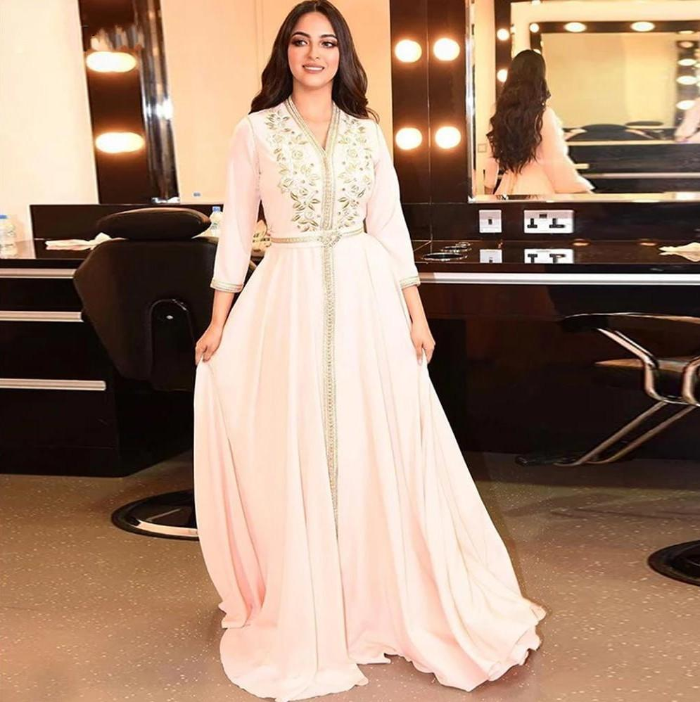 Elegant Pearl Ivory Moroccan Kaftan Evening Dresses Long Prom Dress 2020 Embroidery A-Line Full Sleeve Arabic Muslim Formal Gowns