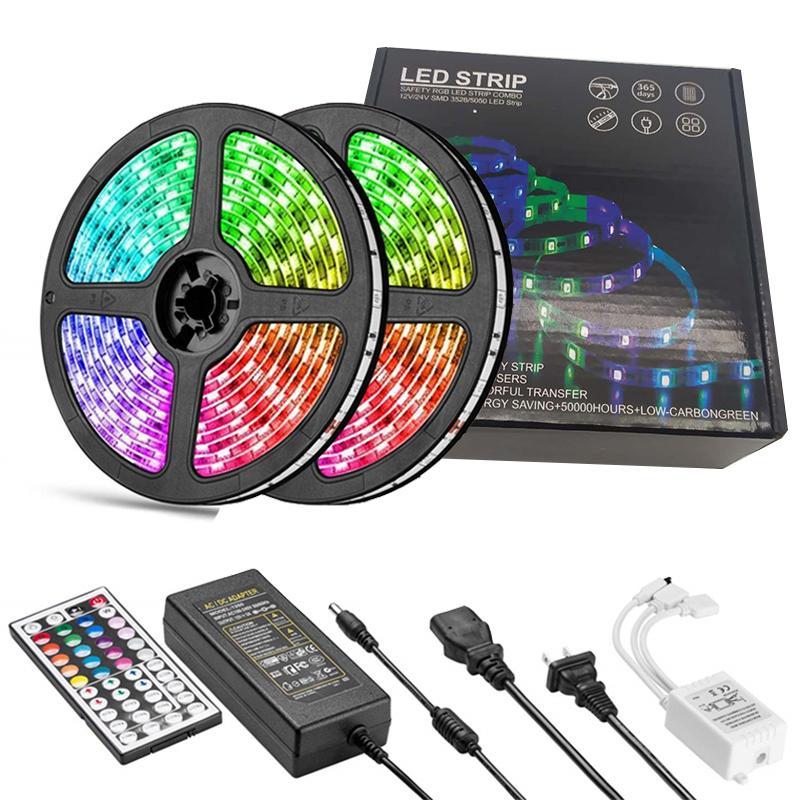LED Strip Lights RGB SMD5050 DC12v Color Changing LED Tape Light Kit Flexible Changing Multi-Color Lighting Strips with 44 Keys for TV Room