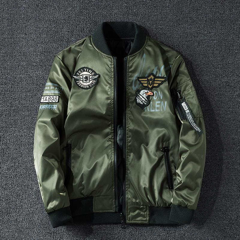 Kış Bombacı Ceket Erkekler Askeri Pilot Ceket Rozeti Moda Çift Yan Giyim Motosiklet Ceket Aautumn Gençlik Büyük Boy 6XL 7XL CX200826