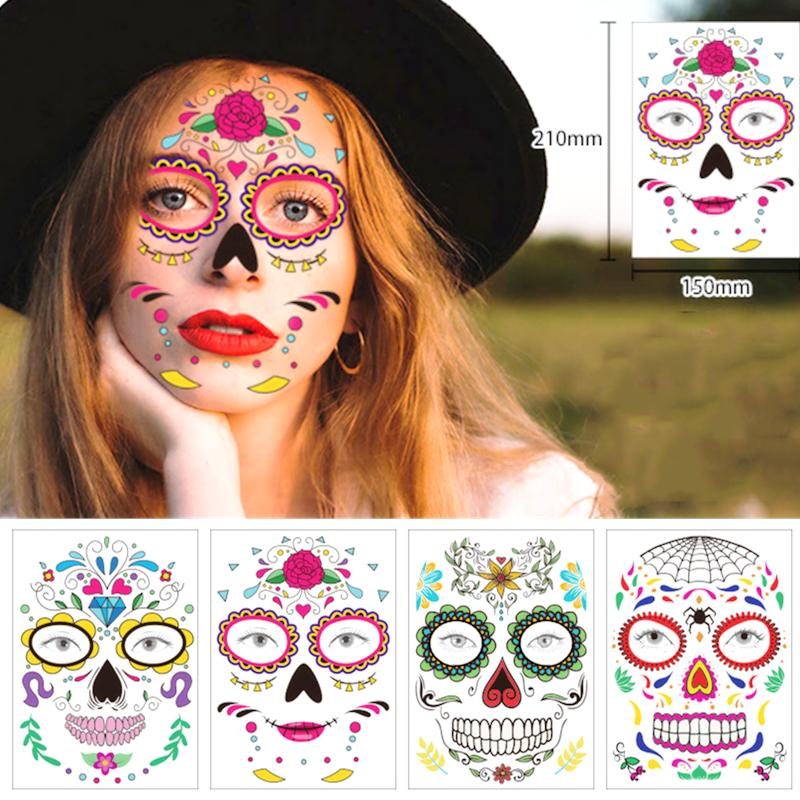 Décoration d'Halloween Halloween masque étanche tatouage temporaire autocollant jour mexicaine du crâne de sucre Masque Party Maquillage