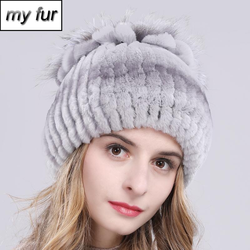 2020 mujeres caliente natural Real Rex Gorros sombreros de piel de invierno de punto Rex Fur Caps Nueva Mujer Con Sombrero Skullies