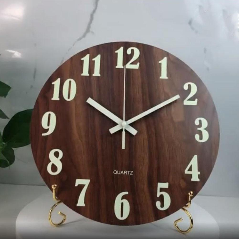 Pasillo luminoso reloj de pared de la oficina para no tictac Decoración de madera que brilla en la oscuridad