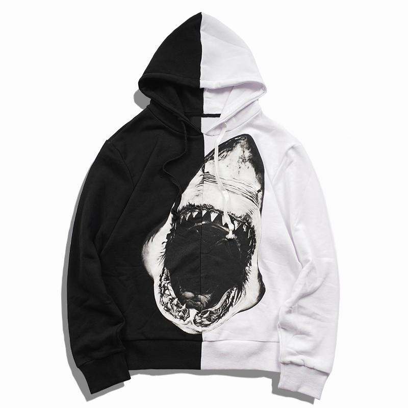 Mens tiburón Imprimir Hoodies Hombres Mujeres Negro mejor calidad y costuras blancas sudadera Parejas alta calidad camisetas ocasionales tamaño S-XL