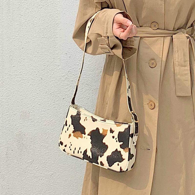Achselhöhle Ins Frauen Hot Underarm Baguette Taschen Milch Schulter Druck Handtaschen Weibliche Mode Vintage Leder Kuh Messenger Bags GVPWQ