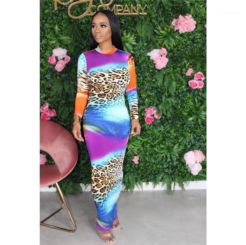 Cou à manches longues Robes dos nu Bydconn imprimé léopard Vêtements pour femmes Designer Mode Contrast Femmes Robes simples Crew